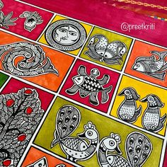 Madhubani Art, Madhubani Painting, Kerala Mural Painting, Paper Bookmarks, Letter Patterns, Hand Painted Rocks, Tribal Art, Beautiful Paintings, Note Cards