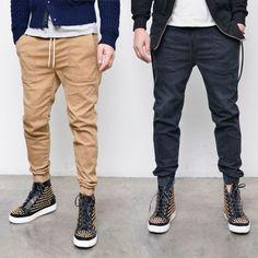 Mens Basic Slim Semi Baggy Jogger-Pants 212 by Guylook.com