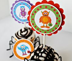Trick or Treat Monsters Theme Printable Party Circles, Cupcake Toppers, DIY Party Printables, Digital File