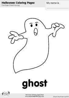 Free Ghost Coloring Page From Super Simple Learning Tons Of Halloween Worksheets Flashcards