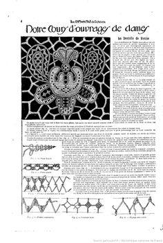 """La Dentelle de Venise Notre cours d'ouvrages de dames. Les Dimanches de la femme : supplément de la """"Mode du jour""""   1922/06/18 (A1,N15)."""