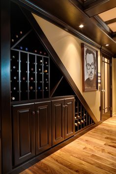 in-wall wine storage for under stairs