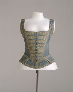Bodice, 1740s. German. Front is blue silk, back is linen and laces closed.