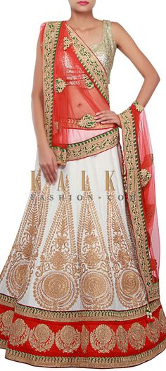 Buy Online from the link below. We ship worldwide (Free Shipping over US$100) http://www.kalkifashion.com/white-lehenga-adorn-in-zari-embroidery-only-on-kalki.html