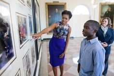First Lady Michelle Obama with NFL PLAY 60 Winner James Gale