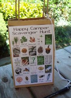 Camping Scavenger Hunt for Kids. I like this idea! Gift bags with handles, paste some photos of items to collect during the hunt. Whoever collects the most like items wins. Good outdoor game for the kids.
