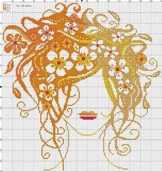 0 point de croix visage de femme et fleurs dans les cheveux - cross stitch face of a girl with flowers in her hair: