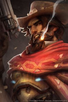 Overwatch Fanart McCree , Johannes Helgeson on ArtStation at https://www.artstation.com/artwork/overwatch-fanart-mccree