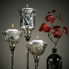 How to make your own mercury glass vases and candle holders... looks simple.