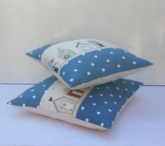 ♥Quality Stunning Handmade 14 x 14and 16x16 Nautical Beach Huts Sea side Scenery Cushion covers ************************ Features x Size 14x14and 16x16 inches. x Exclusive Clarke & ClarkeDotty Denim Blue& Fryetts Maritimefabrics x Natural coloured Cotton Calico at the back x Buttoned enclosure,3 wooden buttons in Navy,Red and Blue. Home Sweet Home Ribbon tape sewed with 2 small wooden beads x All inner seams are double stitched and overocked x Please see my other items for matching Do...
