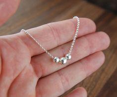 Drie kralen ketting in sterling zilver zus van door jersey608jewelry
