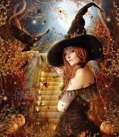 Items similar to sexy fantasy Halloween Witch art with crow and pumpkins art print on Etsy Fantasy Witch, Witch Art, Dark Fantasy, Fantasy Art, Halloween Art, Vintage Halloween, Halloween Witches, Happy Halloween, Witch Pictures