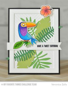 Birds of Paradise, Polynesian Paradise, Birds of Paradise Die-namics, Four Way… Mft Stamps, Bird Cards, Christmas Cards To Make, Animal Cards, Tampons, Card Making Inspiration, Card Maker, Happy Birthday Cards, Copics