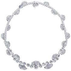 French Garland Diamond Platinum Necklace | From a unique collection of vintage choker necklaces at https://www.1stdibs.com/jewelry/necklaces/choker-necklaces/