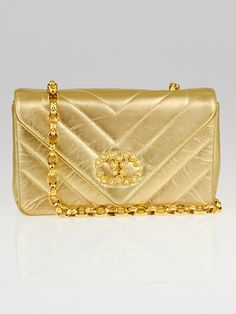 Chanel Vintage Gold Chevron Quilted Leather Pearl Bag