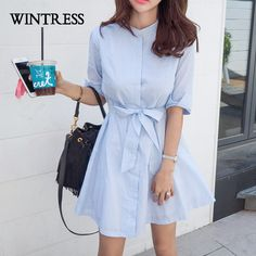 WINTRESS 2017 Casual Bodycon Women Dress Autumn Stand Blue White Striped Bow Buttons Korean Style Female Shirt Dresses Vestidos-in Dresses from Women's Clothing & Accessories on Aliexpress.com | Alibaba Group