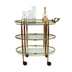 Mid Century Modern Brass & Walnut Bar Cart by TheModernHistoric, $750.00