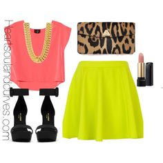 """""""Colorblocking with Neon"""" by adoremycurves on Polyvore"""