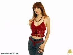 Red Crop Top Summer Halter Transformer Crochet Beach Fashion Coin Tassel Gypsy Boho Romantic Belly Dance - Ready to ship! Red Crop Top, Summer Crop Tops, Beach Fashion, Crochet Tops, Belly Dance, Tassel, Gypsy, Romantic, Boho