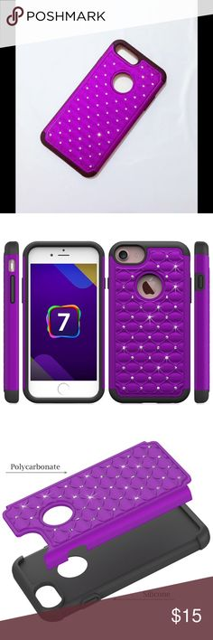 Bling Crystal Case for iPhone 7 Shockproof Hybrid Rubber Armor Bling Crystal Case for iPhone 7. Dual layer hybrid heavy duty case - Hard Plastic diamond case + Silicone skin cover combine as one. Soft shock-absorbing inner silicone skin with the rigidness of a hard diamond bling outer shell.   Color: Purple Accessories Phone Cases