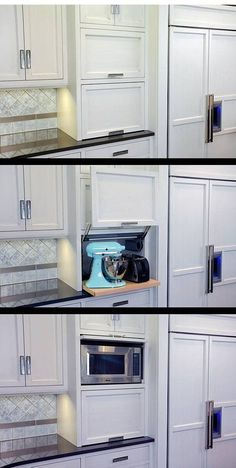 Really like the lift up door for appliances, and slide back door above it for the microwave.  Clear Counter Clutter: 10 Inspiring Appliance Garages