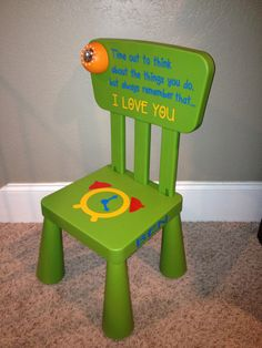 Personalized Time Out Chair with Timer by SwirlyTwirlyDesigns, $55.00