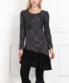 Love this Charcoal & Black Lace Ruffle Dress on #zulily! #zulilyfinds