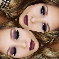 Loving this fall inspired burgundy smokey eye and lip combo ❤️ Details in the…