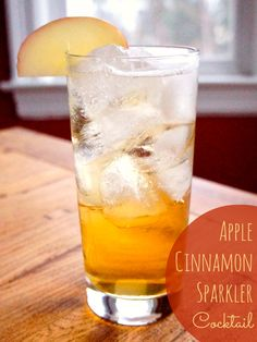 The apple and cinnamon shine and make the bourbon go down smoothly in this bubbly apple cinnamon sparkler cocktail. Brunch Drinks, Cocktail Desserts, Fun Cocktails, Holiday Cocktails, Party Drinks, Cocktail Drinks, Yummy Drinks, Cocktail Recipes, Sparkling Drinks