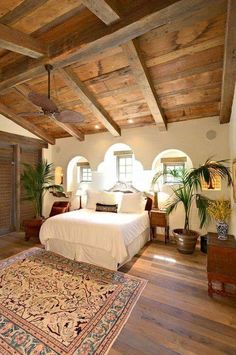 Bedroom - Antique ~  Vintage - Vaulted Wood Ceiling, Wood Door,   Céleste ~ Celestial