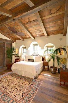Bedroom - Antique ~  Vintage - Vaulted Wood Ceiling, Wood Door,   Céleste ~ Celestial