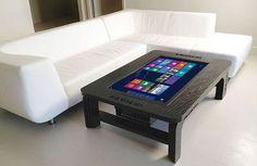 Microsoft Windows 8 Touchscreen Coffee Table http://coolpile.com/gadgets-magazine/microsoft-windows-8-touchscreen-coffee-table/  via CoolPile.com  Bluetooth, Coffee, Furniture, Hammacher.com, HD, Keyboard, Living Room, Microsoft, Mouse, Smart, Tablets, USB, WiFi, Windows, Wood