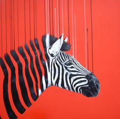 a Zebra on a red background commission, to form part of a triptych :)….Oil and acrylic on canvas, 60x60x4cm (2014) by Louise McNaught