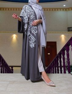 Dark grey and silver Hijab Gown, Hijab Style Dress, Hijab Outfit, Abaya Fashion, Muslim Fashion, Fashion Dresses, Estilo Abaya, Hijab Chic, Modern Abaya