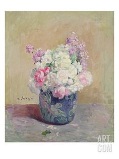 Vase of Flowers (Oil on Canvas) Giclee Print by Henri Lebasque at Art.com