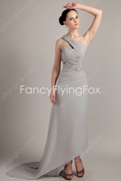 Special Gray Asymmetric One Shoulder High-low Prom Dress