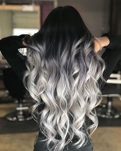 Black to Grey to Silver Ombre Hair me for Cute Silver Inspiration!Black to Grey to Silver Ombre Hair Black to Grey to Silver Ombre Hair me for Cute Silver Inspiration!Black to Grey to Silver Ombre Hair Ombre Hair Color, Cool Hair Color, Silver Ombre Hair, Black To Grey Ombre Hair, Gray Ombre, Hair Color Black, Black Roots Blonde Hair, Long Silver Hair, Dyed Hair Ombre