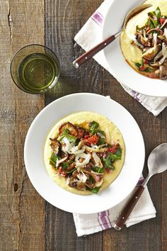 Creamy Polenta with Mushrooms & Collards  - CountryLiving.com