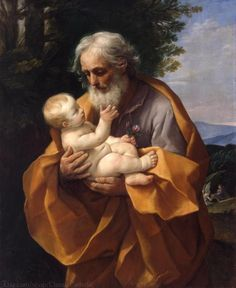 St Joseph with the Infant Jesus - Oil on Canvas by Guido Reni at The Hermitage, St. Petersburg An Italian painter of high-Baroque style, Guido Reni Novembe Caravaggio, Catholic Art, Catholic Saints, St Joseph Novena, Vintage Holy Cards, Hermitage Museum, Italian Painters, Blessed Mother, Jesus Mother