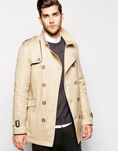 Image 1 of ASOS Trench Coat With Belt In Stone
