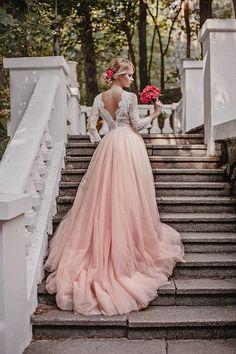 Pink wedding dress, tulle wedding dress, long sleeves wedding gown, wedding…