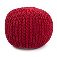 Scarlet Hand Knitted Pouf