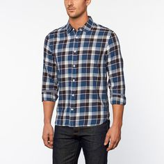 Beach Washed Plaid Shirt // Navy