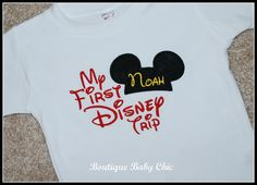 First Disney Trip Tee Shirt with Monogram Mickey Ears Name Personalized / Monogrammed Disney Vacation. $20.00, via Etsy.