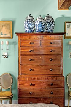 Tall Bedroom Chest with Ginger Jars