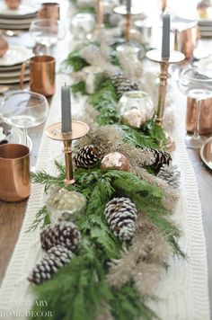 Christmas Table Setting with Garland Centerpiece & Copper Accents-Neutral Christmas Tablescape-Cedar table garland Dinner Party Decorations, Dinner Party Table, Christmas Table Decorations, Decoration Table, Dinner Parties, Holiday Parties, Christmas Table Settings, Christmas Tablescapes, Christmas Entertaining