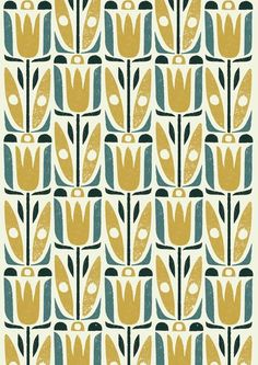 Retro flower silhouette pattern, mustard and ms wrought iron Motifs Textiles, Textile Patterns, Textile Design, Fabric Design, Pretty Patterns, Flower Patterns, Color Patterns, Pattern Floral, Motif Floral