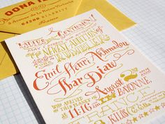 beautiful hand drawn type - letterpress baby announcement