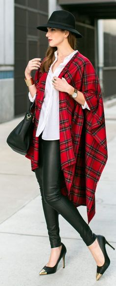 Leather Skinnies + Red Plaid Poncho