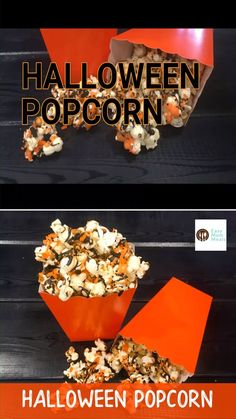 You and the kids will love this easy to make make and fun to eat Halloween popcorn. Make it for a movie night, festival, or even your Halloween party! food for party videos appetizers dip recipes Halloween popcorn treat Halloween Movie Night, Soirée Halloween, Halloween Popcorn, Adornos Halloween, Halloween Party Snacks, Halloween Baking, Halloween Dinner, Halloween Desserts, Halloween Cupcakes